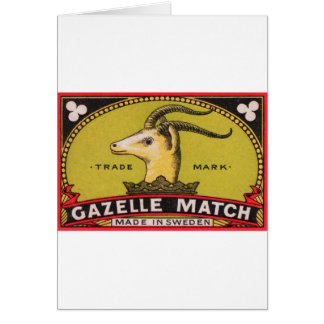 Antique Gazelle Swedish Matchbox Label Card