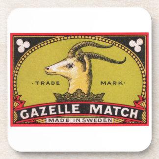 Antique Gazelle Swedish Matchbox Label Drink Coaster