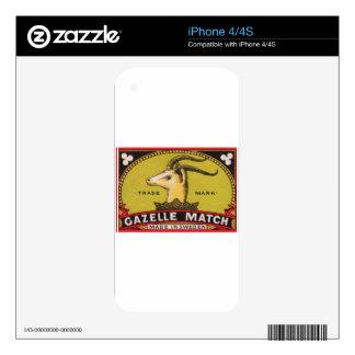 Antique Gazelle Swedish Matchbox Label iPhone 4S Decals