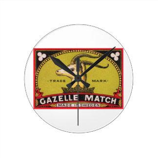Antique Gazelle Swedish Matchbox Label Round Clock