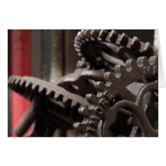 Antique Gears and Books Greeting Card