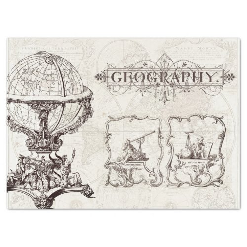 ANTIQUE GEOGRAPHY AND ASTRONOMY EPHEMERA TISSUE PAPER