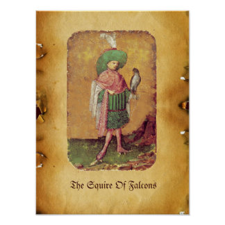 Antique German Court Tarots  /Squire of Falcons Poster