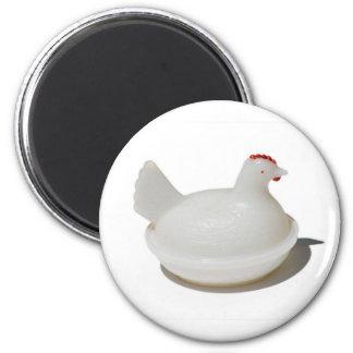 Antique Glass Chicken Magnet