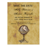 Antique Globe, Distressed BG Save the Date Postcard