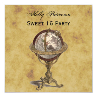 Antique Globe, Distressed BG SQ Sweet 16 Invitation