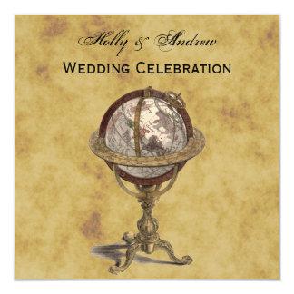 Antique Globe, Distressed BG SQ Wedding Card