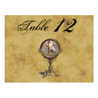 Antique Globe, Distressed BG Table Number Postcard
