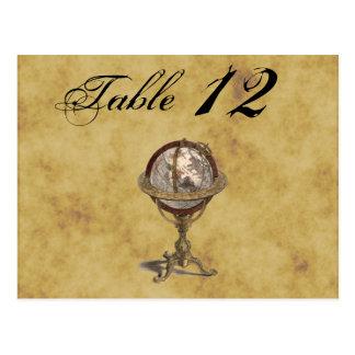 Antique Globe, Distressed BG Table Number Postcard