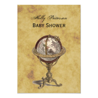 Antique Globe, Distressed BG V Baby Shower 5x7 Paper Invitation Card