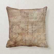 Antique Globe Distressed Rustic Brown Throw Pillow