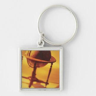 Antique globe Silver-Colored square keychain