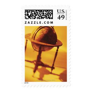 Antique globe postage stamps