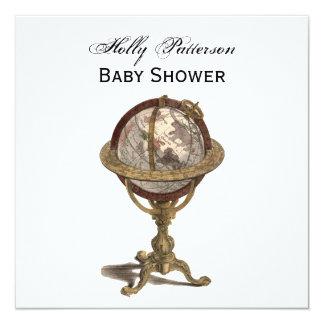 Antique Globe, White BG SQ Baby Shower Card