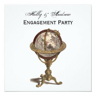 Antique Globe, White BG SQ Engagement Card