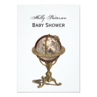 Antique Globe, White BG V Baby Shower 5x7 Paper Invitation Card