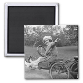 Antique Go Cart, early 1900s 2 Inch Square Magnet