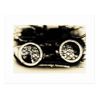 Antique Goggle glasses, dark sepia, template Postcard