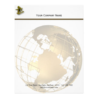 Antique Gold and Sextant on Gold and White Letterhead