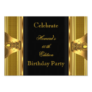Antique Gold Black Book 60th Birthday Party 2 5x7 Paper Invitation Card
