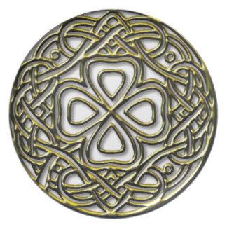 Antique Gold Celtic Shamrock Plate