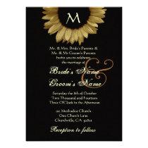 Antique Gold Colored Sunflower Wedding Custom Invites