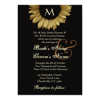 Antique Gold Colored Sunflower Wedding 5x7 Paper Invitation Card