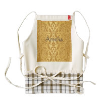 antique,gold,damask,pattern,vintage,floral,chic, zazzle HEART apron