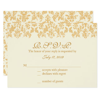 Antique Gold, Damask Response Cards