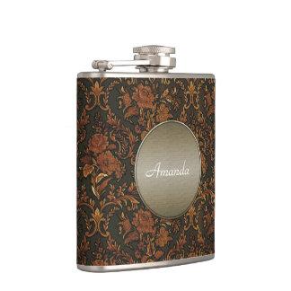 Antique Gold Damask Steampunk Monogram Flask
