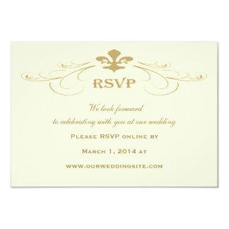 Antique Gold Fleur de Lis Wedding RSVP Cards