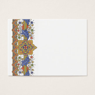 Antique Gold Floral with Blue Leaf Border Template Business Card