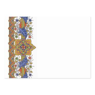 Antique Gold Floral with Blue Leaf Border Template Large Business Card