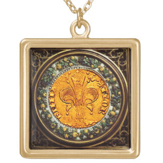 ANTIQUE GOLD FLORENTINE FORINT AND FLORAL CROWN GOLD PLATED NECKLACE