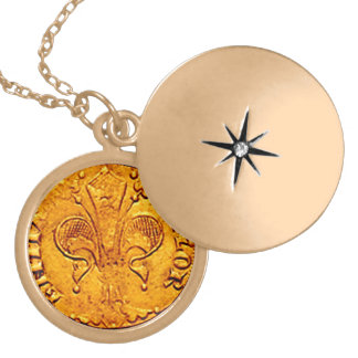 ANTIQUE GOLD FLORENTINE FORINT LOCKET NECKLACE