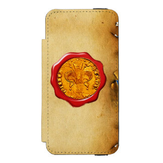 ANTIQUE GOLD FLORENTINE FORINT REDWAX SEALMONOGRAM WALLET CASE FOR iPhone SE/5/5s