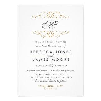 Antique Gold Flourish Monogram Wedding Invitation