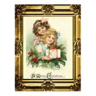 Antique Gold Frame A Merry Christmas Vintage Girls Postcard