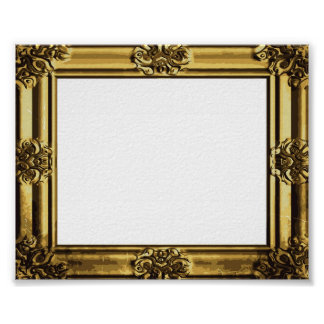 Antique Gold Frame with vintage scroll design Posters