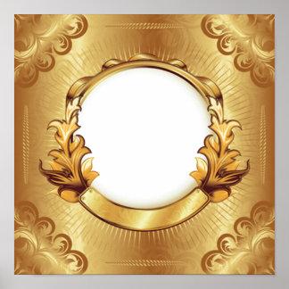 Antique Gold Frame with vintage sunburst design Print