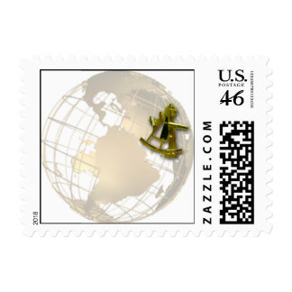 Antique Gold Globe and Gold Sextant Postage Stamp