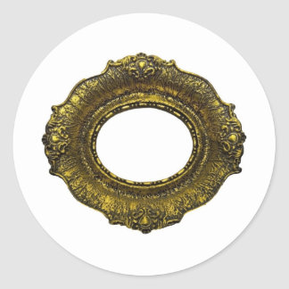 Antique Gold Picture Frame Classic Round Sticker