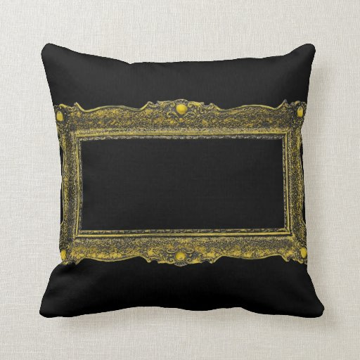 Antique Gold Picture Frame Throw Pillows