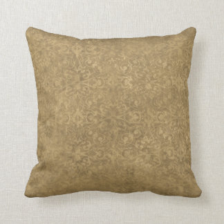 Antique Gold Shabby Damask Throw Pillow