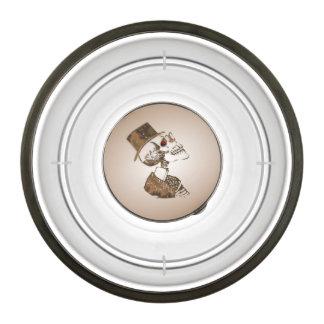 Antique Gold Steampunk Skull Pet Bowl