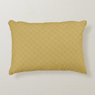 Antique Gold Stitched Quilt Pattern Accent Pillow