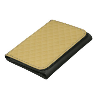 Antique Gold Stitched Quilt Pattern Leather Tri-fold Wallet