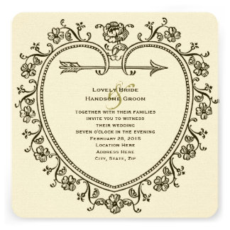 Antique Gold Tint Floral Heart Wedding Invitation