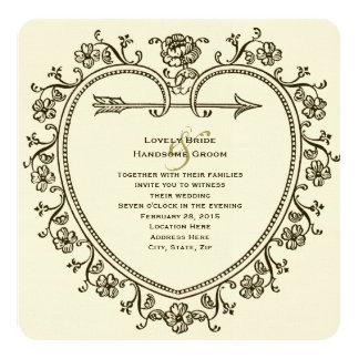 Antique Gold Tint Floral Heart Wedding Invitation