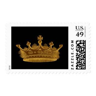 Antique Gold Vintage Crown Black Background Postage Stamp